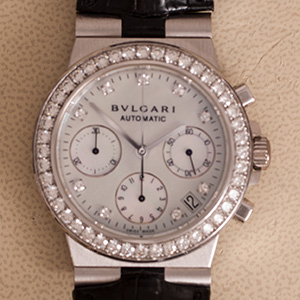Bulgari Diagono Chronograph MOP diamonds